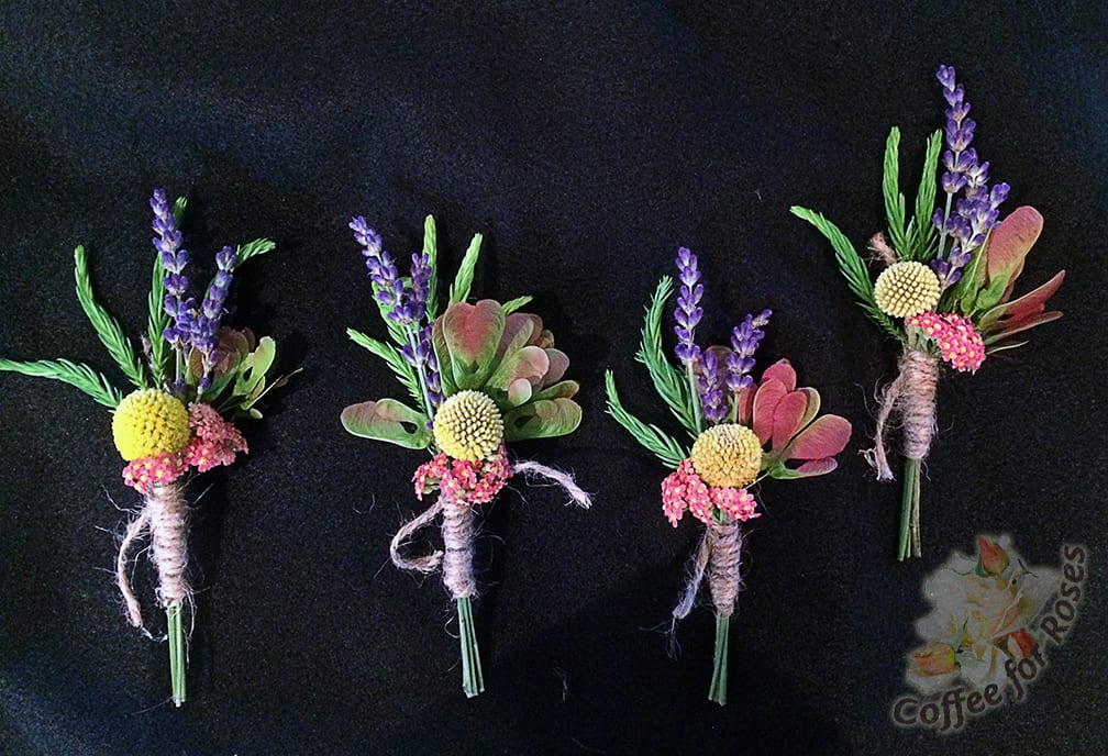 I made the boutonnieres first. Because the bride and groom loved the whimsical billy-ball flowers, I ordered those, some roses, stock and lisianthus from an on-line flower source.