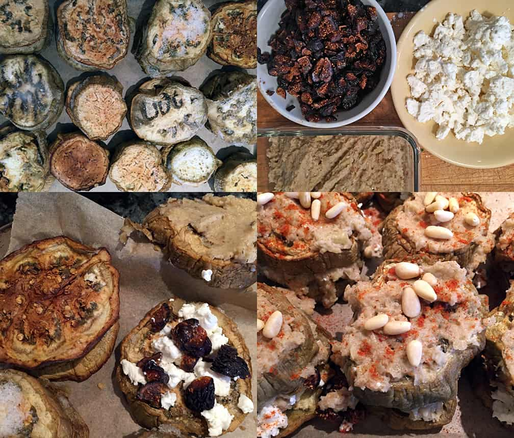 Clockwise from top left: rounds of semi-frozen roasted eggplant; pre-chop the figs, crumble the feta and make the fennel puree...you can do this while roasting the eggplant or letting frozen eggplant thaw; pairs with the cheese and fig on one side and the underside of the top spread with puree; top each stack with some more puree, paprika and pine nuts.