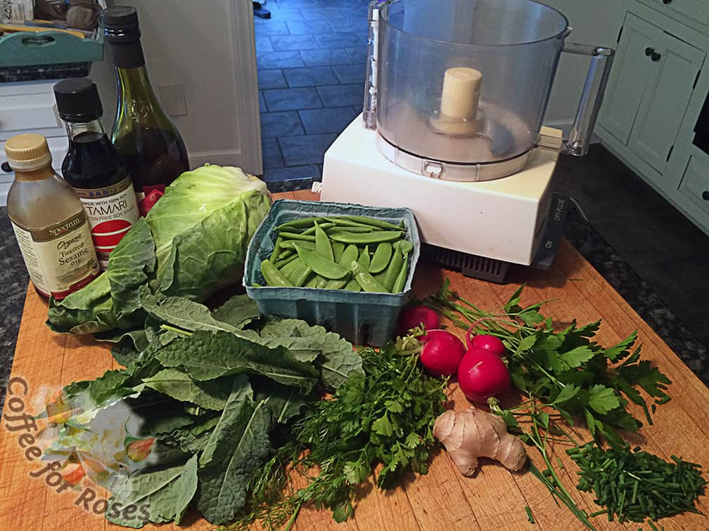 Here are the ingredients, fresh from the garden. (Except the ginger root and dressing materials, of course.)