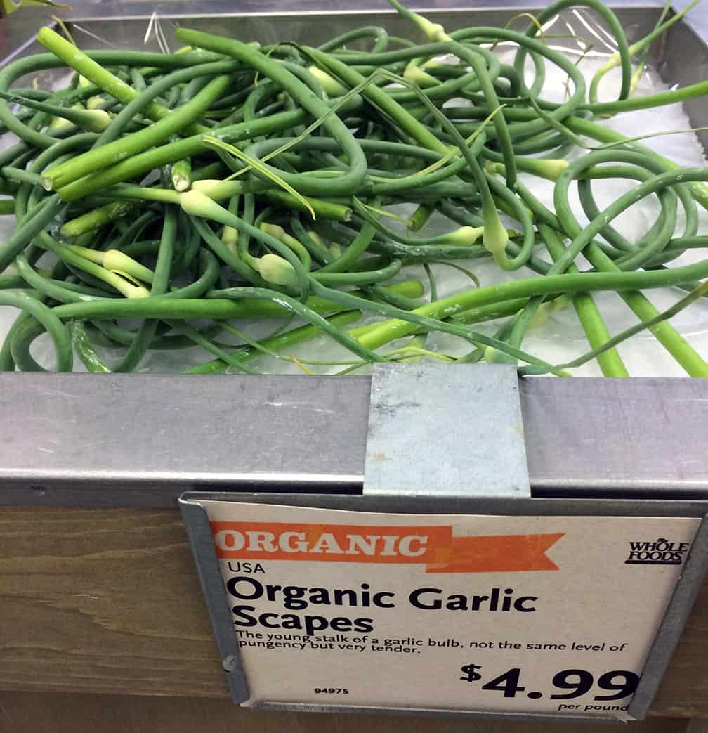 Yes, you can buy garlic scapes at the store, buy why??? Plant garlic cloves in the fall, and you'll have scapes as well as heads of garlic the following summer.