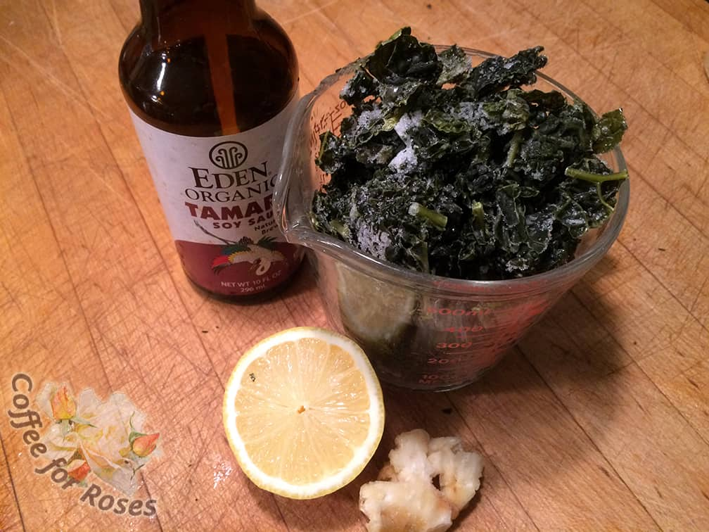 I added frozen chopped kale from the garden, roasted garlic (also from the garden, roasted fresh and frozen for future use) some tamari and lemon juice.