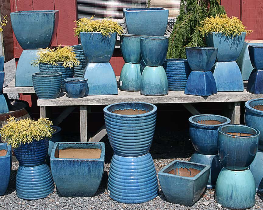 Blue Garden Pots Coffee for roses garden center safari this collection of blue pots reminds me that a grouping of containers that area all a workwithnaturefo
